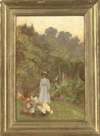 lady in a garden by benjamin haughton