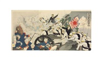 battle scenes from the sino-japanese war: the japanese troops assailing a chinese brigade; captain higuchi rescuing a chinese child...(4 works) by toshikata