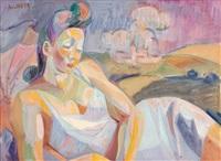 femme dans un paysage by andré lhote