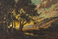 sunlit landscape by tinus de jongh
