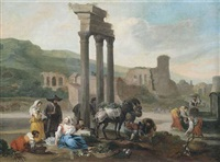 marktfrauen vor römischen ruinen by hendrick mommers