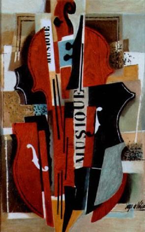 violon et étude cubiste by diego de valdès