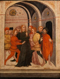 lucretia zwischen collatino, valerius und brutus by sano di pietro