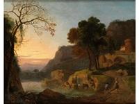 südliche abendlandschaft mit rechts erhöht stehender burganlage by herman van swanevelt