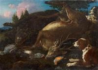 jagdstück mit erlegtem rotwild, wildschwein und singvögeln by carl borromaus andreas ruthart