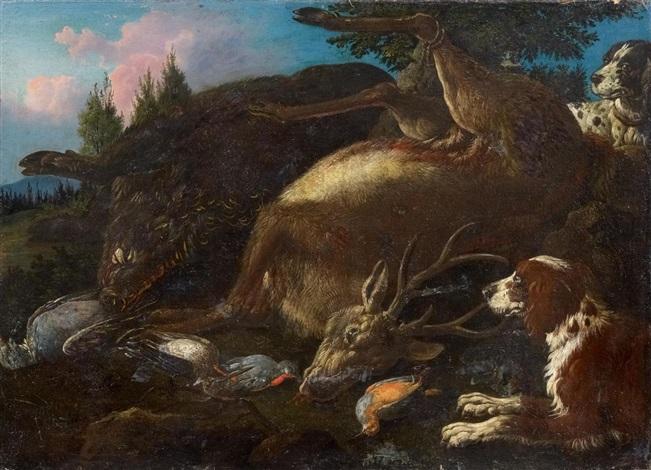 jagdstück mit erlegtem rotwild wildschwein und singvögeln by carl borromaus andreas ruthart