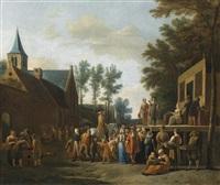 eine stadtansicht mit einer wanderbühne und gauklern (köln?) by gerrit adriaensz berckheyde