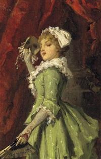 die maskarade. festlich gekleidete junge dame mit fächer und maske by joseph watter