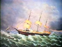 the sarah e. petigrew (three masted schooner) by robert w. foster