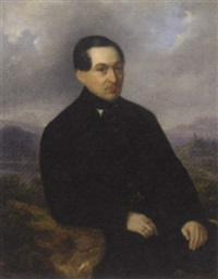 portrait of a gentleman seated in a landscape by karl vogl