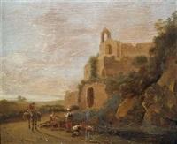 südliche landschaft mit hirten und reisendem vor ruinen by johannes van der bent