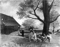 sitzende bauernfamilie im schatten eines baumes by antoine de gottrau