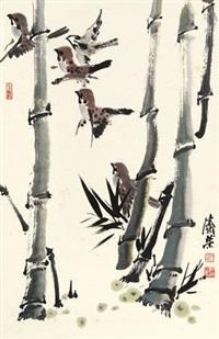 竹叶小鸟 by liu jirong