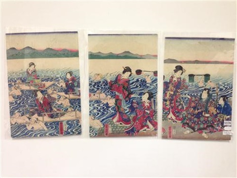 crossing the river minakawa 3 works by utagawa yoshitora