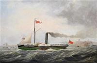 portrait of the steamer providence off a coastline by john scott
