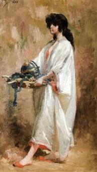 jeune fille portant les armes du guerrier by henry janet