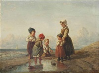 children playing with a boat on the beach by elchanon verveer