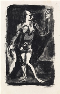 clown (le pitre) (from maîtres d'aujourd'hui) by georges rouault