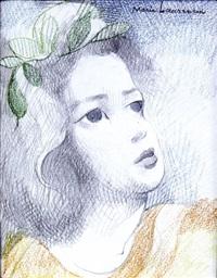 visage, portrait à la tresse de feuillage by marie laurencin
