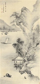 landscape with sailboats by da chongguang
