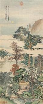 小斋清夜 (landscape) by yu rong and qian weicheng