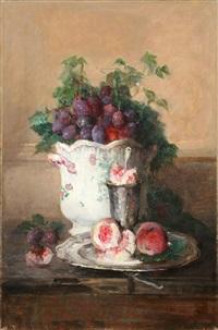 stillleben mit früchten und cachepot by charles monginot