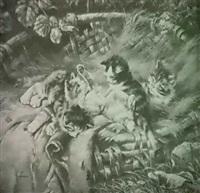spielende katzchen in weidenkorb by j. hofmann