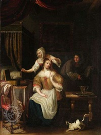 dame bei der toilette by jacob ochtervelt