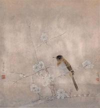 栖禽图 镜心 设色纸本 (painted in 2001 flower and bird) by jiang hongwei
