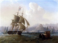 a british frigate amidst native craft off corfu by william garthwaite