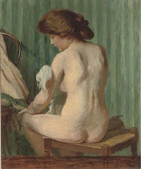 a nude at her toilet by charles-jean agard
