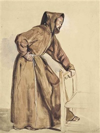 a study of a monk standing with his hand on a chair by john frederick lewis