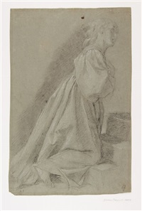 figura femminile inginocchiata/studi di braccia by cavaliere giovanni baglione