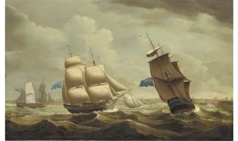 the brig ceres in three positions off the entrance to whitehaven by john askew