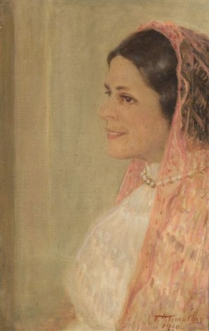 the pink shawl portrait of elizabeth borden hewitt by frank hector tompkins