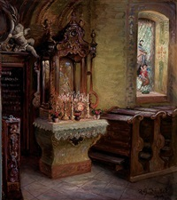interior church scene with marian shrine by robert jäckel