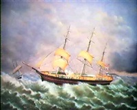 the express (schooner on rough seas) by robert w. foster