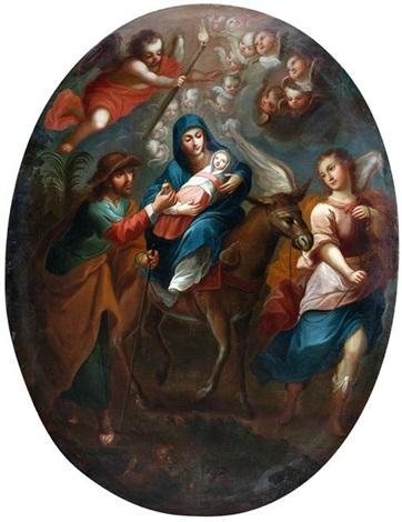 die heilige familie auf der flucht auf ägypten by miguel cabrera