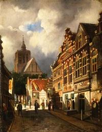 gasse mit giebelhäusern in einer niederländischen stadt by johannes frederik hulk the elder