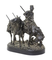 a russian bronze figural group depicting a zaporozhian cossack after battle carrying a lance, cleaning his sword and leading a captured horse by evgeni evgen'evich lansere