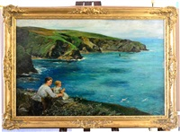 mother and child seated on headland looking out to sea by john robertson reid