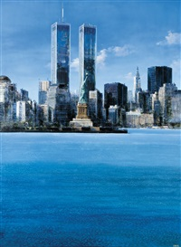 twin towers (river and statue of liberty overlooking manhattan and twin towers) by luigi rocca