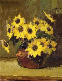 still life of yellow daisies in a vase by adriaan hendrik boshoff