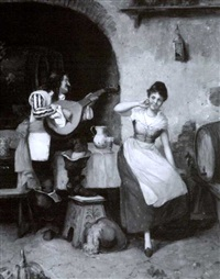 lute player and woman dancing in a tavern by a. secola