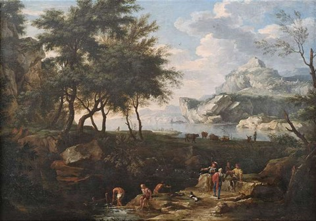 weite landschaft mit einer meeresbucht im abendlicht im vordergrund reisende und soldaten an einem bach by jacob de heusch