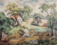 spring landscape with farmstead by russell cowles
