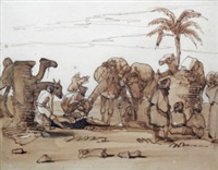 camels and figures at rest (recto and verso) and untitled (16 works) (17 works) by john leslie