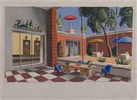 restaurant, a set design for dmitri ugryumov's play a call to an empty flat by nikolai pavlovich akimov