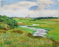 summer landscape with mill by knud agger