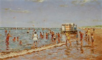 beach scene with bathers by cornelis koppenol
